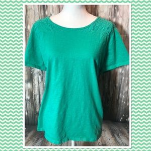 Talbots Factory Turquoise Embroidered Floral Tank